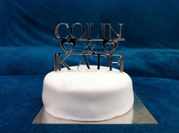 Personalised Couples First Name Wedding Cake Topper 14cm x 9.5cm - Mirror, Clear or Black. (CT02)